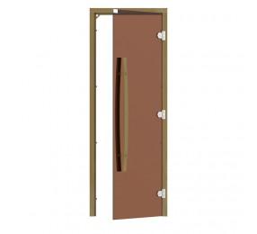 Дверь SAWO 690х1890, стекло бронза, коробка КЕДР, с изогнутой вертикальной ручкой, без порога