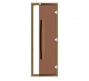 Дверь SAWO 690х1890, стекло бронза, коробка КЕДР, с порогом, универсальная