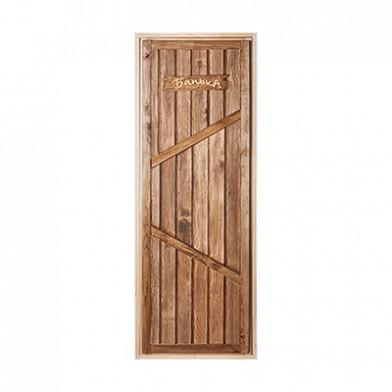 """Дверь глухая """"Банька"""", искусственно состаренная (липа)"""