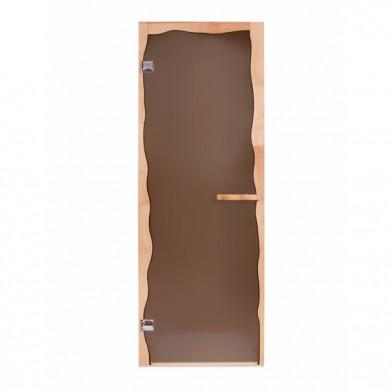 Дверь стеклянная БРИЗ, коробка СОСНА, стекло бронза, правая