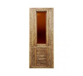 Дверь со стеклом искусственно состаренная (липа)
