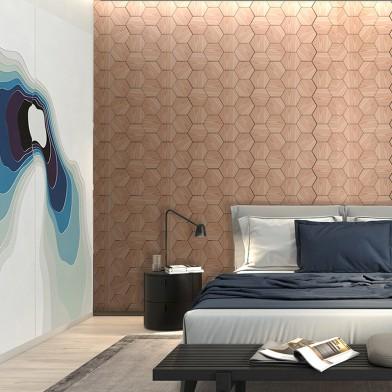 Панели декоративные, стеновые «Соты», красный дуб