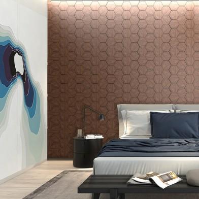 Панели декоративные, стеновые «Соты», черный орех