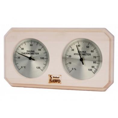 Термогигрометр прямоугольный, SAWO 221-THA (осина)