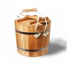 Ведро-запарник, дуб, 20 л, с пластиковой вставкой и крышкой