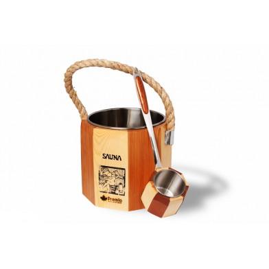Набор: ведро 5 л и черпак, сосна и вставка из нерж. стали