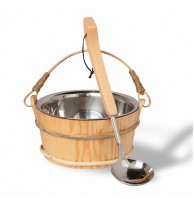 Набор Soul Sauna, шайка 4 л, ручка из ротанга, и ковш