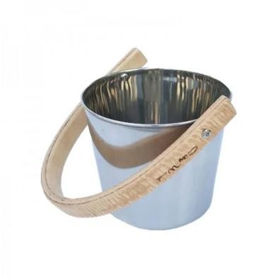 Ведро 5 л, нержавеющая сталь, с деревянной ручкой, City Wood
