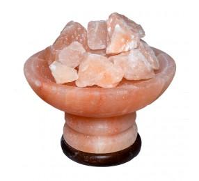 Солевая лампа с плоским верхом и  камнями из гималайской соли МАЛАЯ
