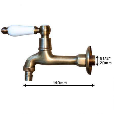 Кран для бани Premio (бронзовый) с керамической ручкой,  арт. S1123