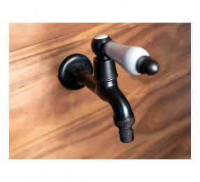 Кран для бани Premio (черный) с керамической ручкой,  арт. S1120
