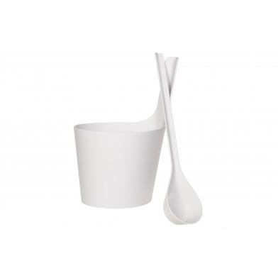 Набор для сауны: шайка с прямой ручкой и черпак, цвет белый, арт. 251412