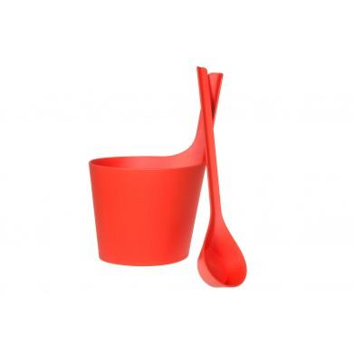 Набор для сауны: шайка с прямой ручкой и черпак, цвет земляника, арт. 251416