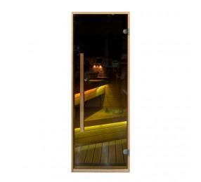 Дверь PREMIO 700х1870 с вертикальной ручкой, стекло бронза, коробка ОЛЬХА