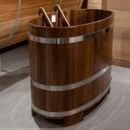 Купель овальная, дуб/дуб мореный, 1,0х0,7 м, полимерное покрытие