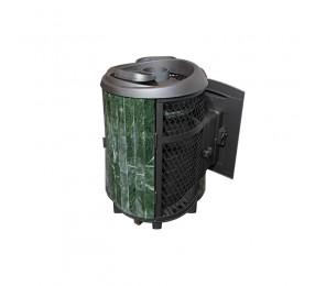 Печь банная «Атмосфера» с комбинированной облицовкой (сетка + змеевик наборный)